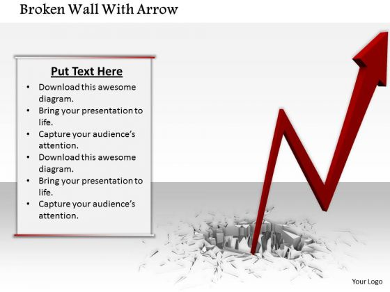 Stock Photo Red Arrow With Broken Surface PowerPoint Slide
