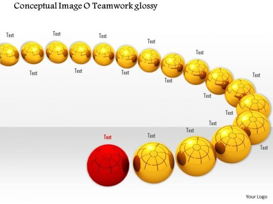 Stock Photo Red Ball Ahead Of Yellow Balls PowerPoint Slide