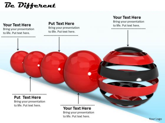 Stock Photo Red Balls With Be Different Concept PowerPoint Slide
