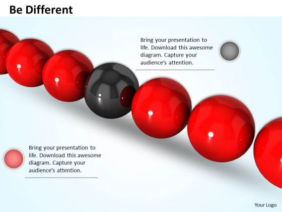 Stock Photo Red Balls With Black Ball In Middle PowerPoint Slide