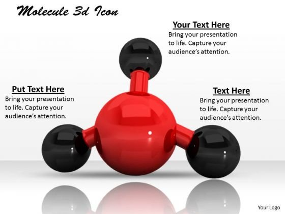 Stock Photo Red Black Molecule Icon PowerPoint Slide