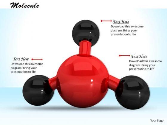 Stock Photo Red Color 3d Molecule PowerPoint Slide