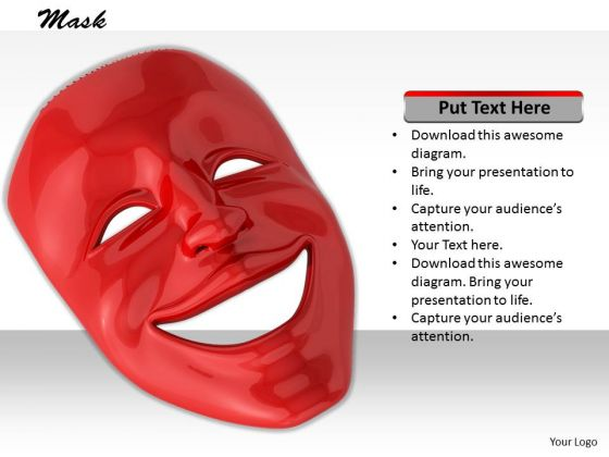 Stock Photo Red Color Emotions Mask PowerPoint Slide