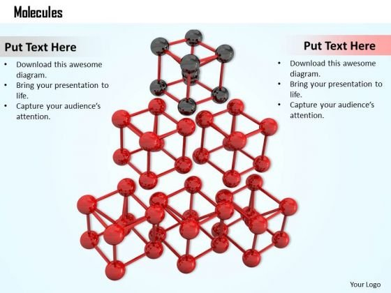 Stock Photo Red Colored Molecular Design For Material PowerPoint Slide