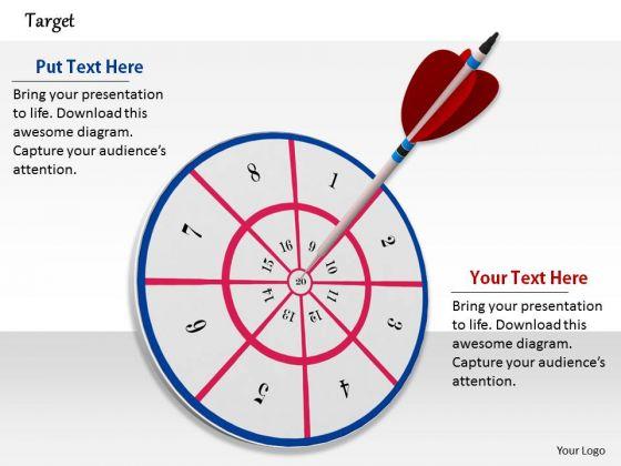 Stock Photo Red Dart Hitting On Center Target Pwerpoint Slide