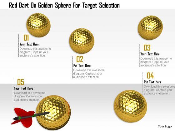 Stock Photo Red Dart On Golden Sphere For Target Selection PowerPoint Slide