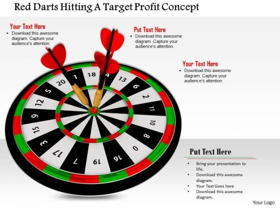 Stock Photo Red Darts Hitting A Target Profit Concept PowerPoint Slide