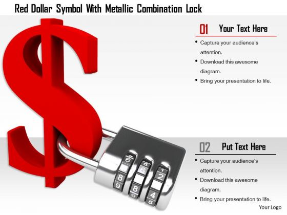 Stock Photo Red Dollar Symbol With Metallic Combination Lock PowerPoint Slide