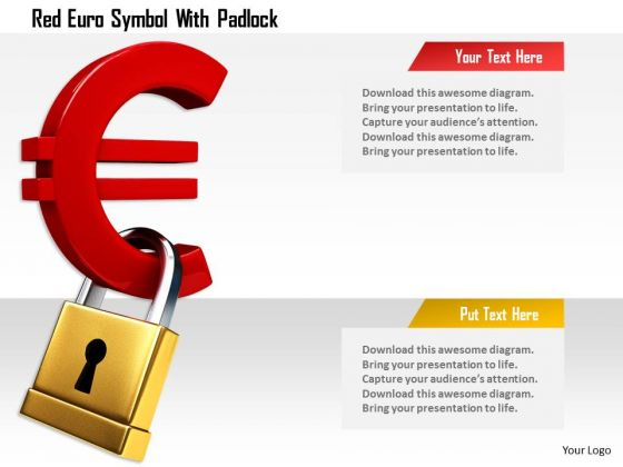 Stock Photo Red Euro Symbol With Padlock PowerPoint Slide