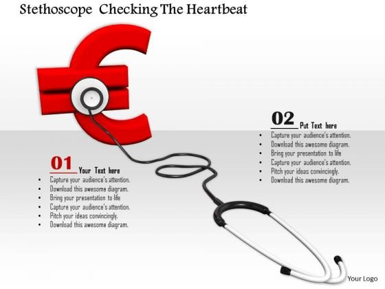 Stock Photo Red Euro Symbol With Stethoscope PowerPoint Slide