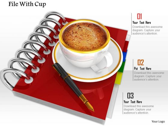 Stock Photo Red File With Coffee Cup PowerPoint Slide