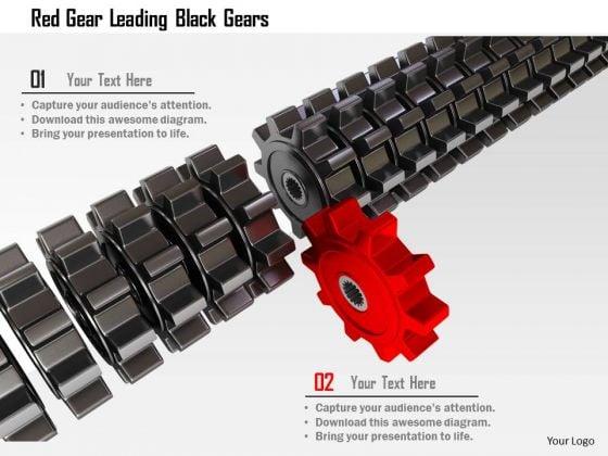 Stock Photo Red Gear Leading Black Gears PowerPoint Slide