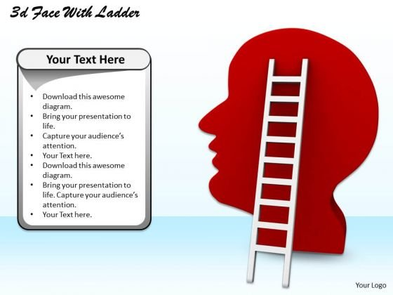 Stock Photo Red Graphic Of Human Face With Ladder Success Concept PowerPoint Slide