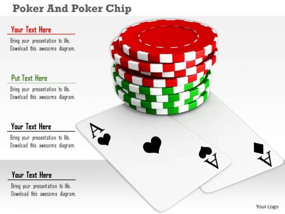 Stock Photo Red Green Poker Chips With Aces PowerPoint Slide