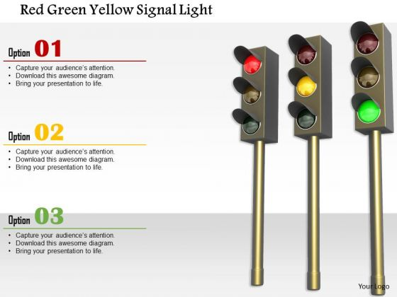 Stock Photo Red Green Yellow Signal Light PowerPoint Slide