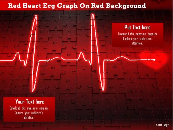 Stock Photo Red Heart Ecg Graph On Red Background Image Graphics For PowerPoint Slide