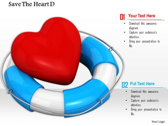 Stock Photo Red Heart Symbol In Lifesaving Belt PowerPoint Slide