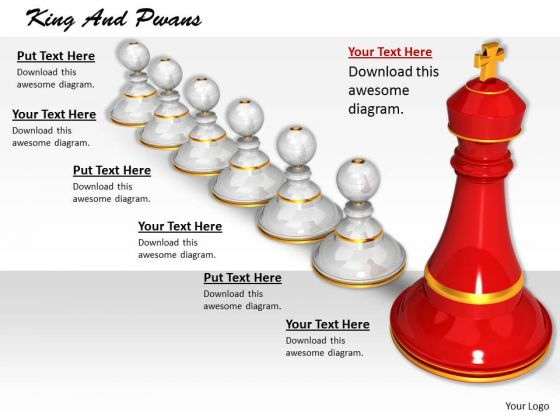 Stock Photo Red King Standing With White Pawns PowerPoint Slide