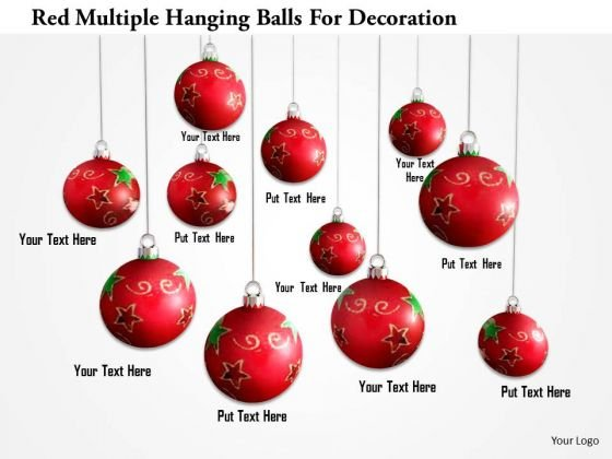 Stock Photo Red Multiple Hanging Balls For Decoration PowerPoint Slide