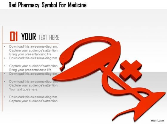Stock Photo Red Pharmacy Symbol For Medicine PowerPoint Slide