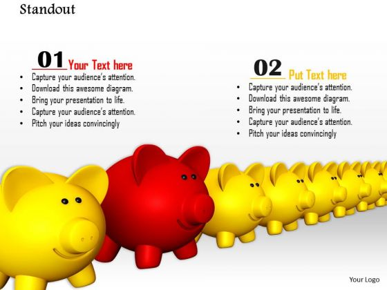 Stock Photo Red Piggy Stand Out From Others PowerPoint Slide