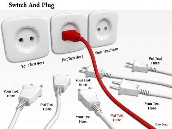 Stock Photo Red Plug In Socket For Power Supply Pwerpoint Slide