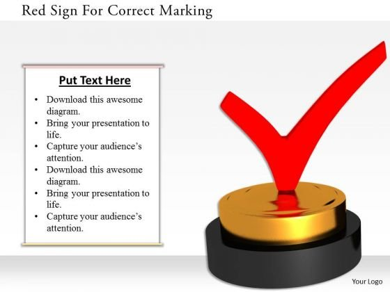 Stock Photo Red Sign For Correct Marking PowerPoint Slide