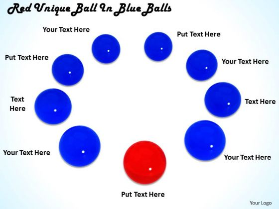 Stock Photo Red Unique Ball In Blue Balls Ppt Template