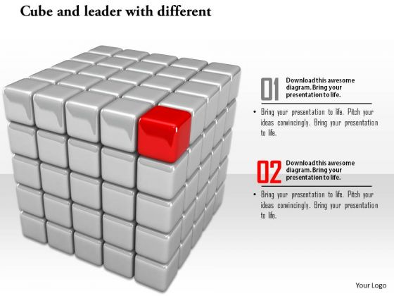 Stock Photo Red Unique Leader Cube Conceptual Image PowerPoint Slide