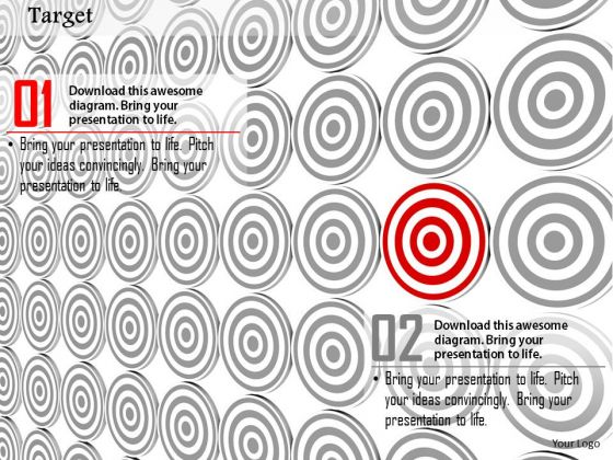 Stock Photo Red Unique Target Board In Others Pwerpoint Slide