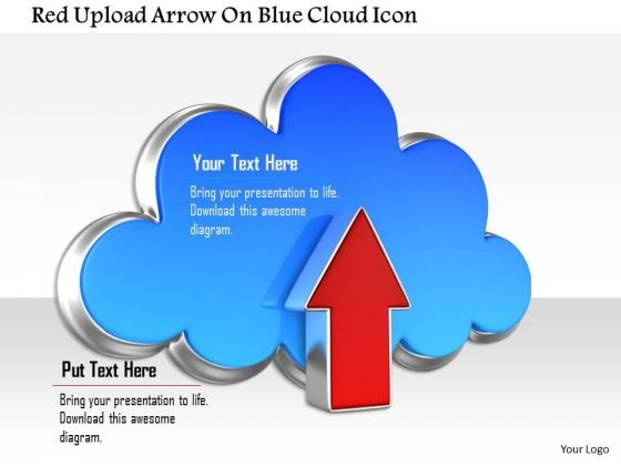 Stock Photo Red Upload Arrow On Blue Cloud Icon PowerPoint Slide