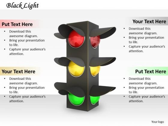 Stock Photo Red Yellow And Green Signals For Traffic PowerPoint Slide