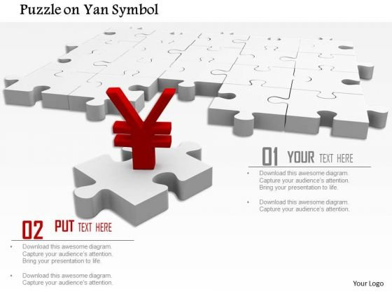 Stock Photo Red Yen Symbol On Puzzle Piece PowerPoint Slide
