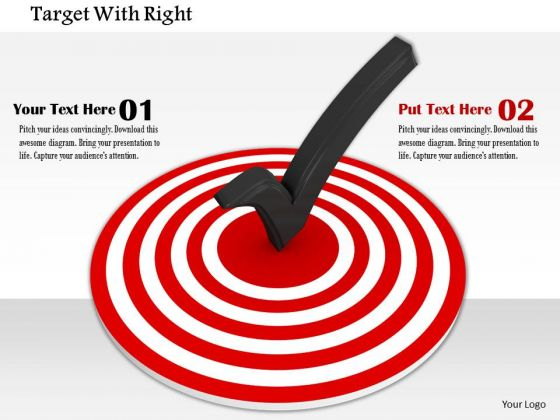 Stock Photo Right Tick Symbol On Red Target Pwerpoint Slide