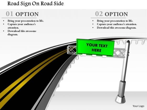 Stock Photo Road Sign On Road Side PowerPoint Slide