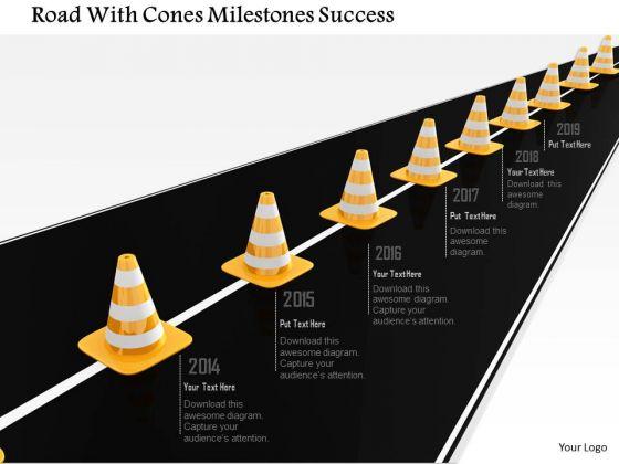 Stock Photo Road With Cones Milestones Success PowerPoint Slide