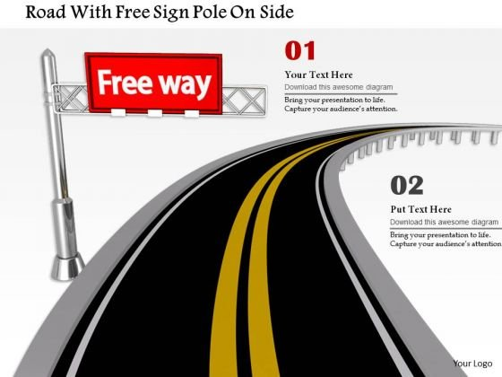 Stock Photo Road With Free Sign Pole On Side PowerPoint Slide