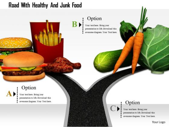 Stock Photo Road With Healthy And Junk Food PowerPoint Slide