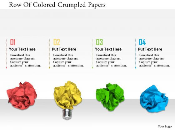 Stock Photo Row Of Colored Crumpled Papers PowerPoint Slide