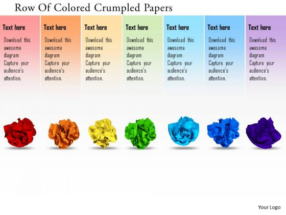 Stock Photo Row Of Crumpled Papers PowerPoint Slide