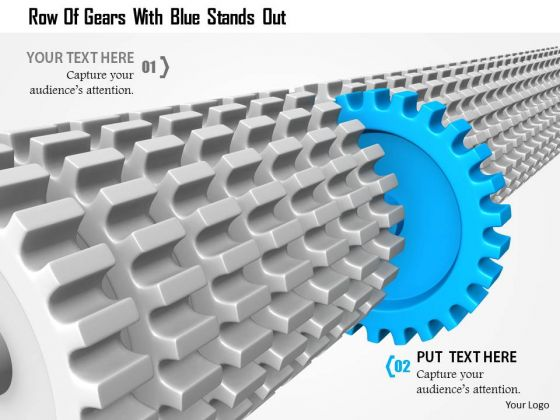 Stock Photo Row Of Gears With Blue Stands Out PowerPoint Slide