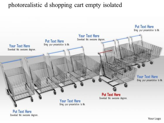 Stock Photo Row Of Shopping Cart With One Standing Ahead PowerPoint Slide