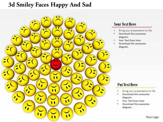 Stock Photo Sad Faces With One Happy Smiley PowerPoint Slide