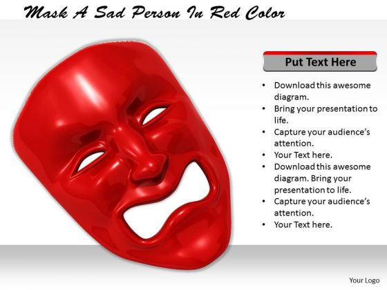Stock Photo Sad Person In Red Color PowerPoint Slide