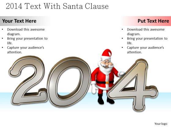 Stock Photo Santa Clause With 2014 Year Text PowerPoint Slide