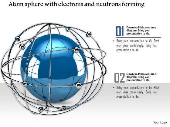 Stock Photo Satellite Orbit Web Around Atom Sphere PowerPoint Slide