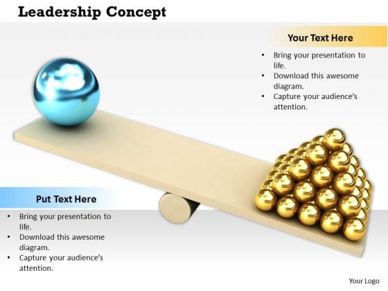 Stock Photo Seesaw With Golden Spheres And Big Blue Sphere PowerPoint Slide