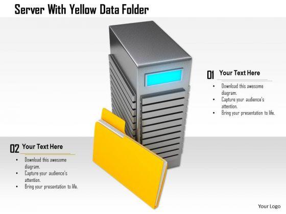 Stock Photo Server With Yellow Data Folder PowerPoint Slide