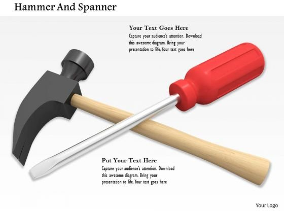 Stock Photo Service Tools Screwdriver And Hammer PowerPoint Slide