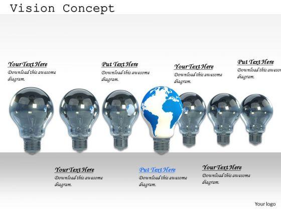Stock Photo Shining Globe Bulb Ahead Of Other Bulbs PowerPoint Slide